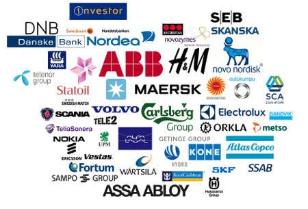 carlsberg: The logos of top Nordic companies.