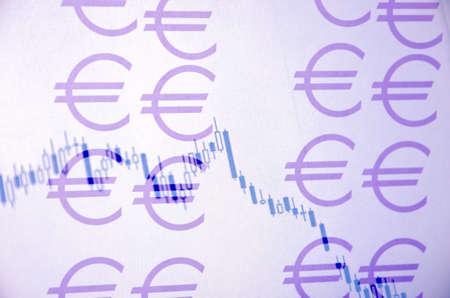 valuation: Euro concept. Euro sign & eurusd chart. Stock Photo