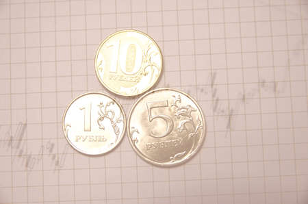 escalating: Growth market chart. Coins. Financial concept. Stock Photo
