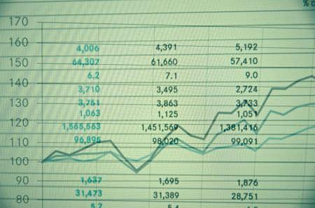 escalating: Financial tables.  Financial concept. Stock Photo