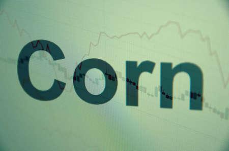 Inscription Corn on pc screen. Financial concept.