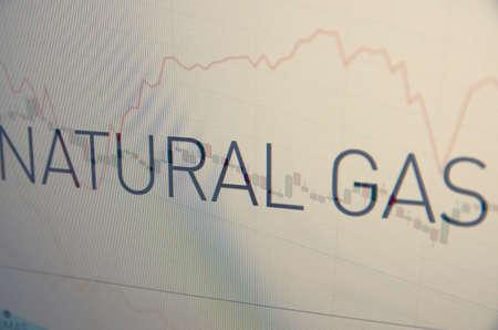 Inscription Natural gas on pc screen. Financial concept.
