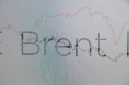 """volatility: Inscripci�n """"Brent"""" en la pantalla del PC. Concepto financiero. Foto de archivo"""