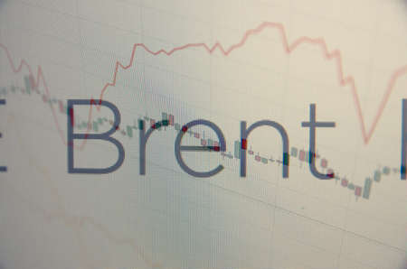natural gas prices: Inscription Brent on pc screen. Financial concept. Stock Photo