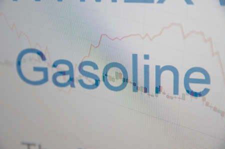climbed: Inscription Gasoline on pc screen. Stock charts. Financial concept. Stock Photo