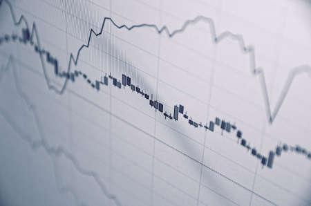 escalating: Stock charts. Financial concept.