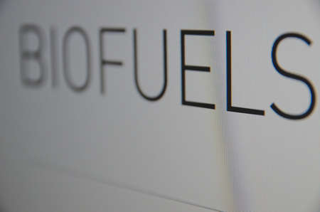natural gas prices: Inscription Biofuels on pc screen. Stock charts. Financial concept. Stock Photo