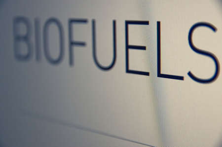 Inscription Biofuels on pc screen. Stock charts. Financial concept. Stock Photo