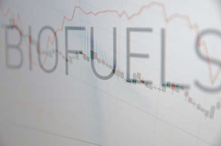 climbed: Inscription Biofuels on pc screen. Stock charts. Financial concept. Stock Photo
