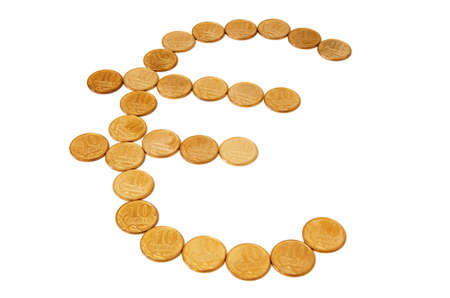 Euro sign from coins. Stock Photo