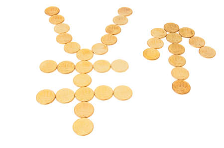 yuan: Sign of yuan & arrow.