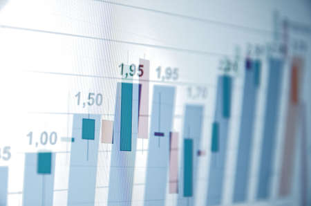 financial figure: Financial data and charts on the screen Stock Photo