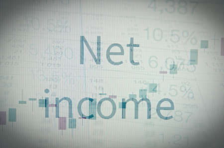 net income: Inscription net income. Corporate earning concept.