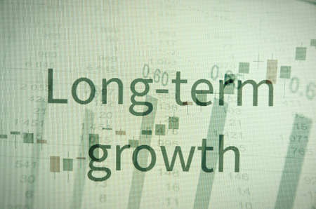 long term goal: Inscription \Long-term growth\. Corporate earnings concept.
