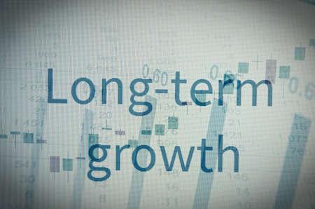 long term goal: Inscription Long-term growth. Corporate earnings concept. Stock Photo