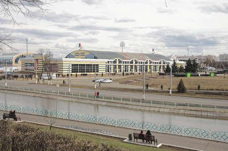 spartak: SARANSK, RUSSIA - APRIL 18: Fans on football match FC Spartak Moscow versus FC Mordovia Saransk. April 28, 2015.