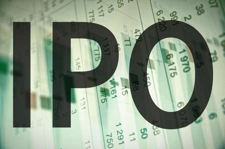 public offering: Initial public offering IPO. Business abstract Stock Photo