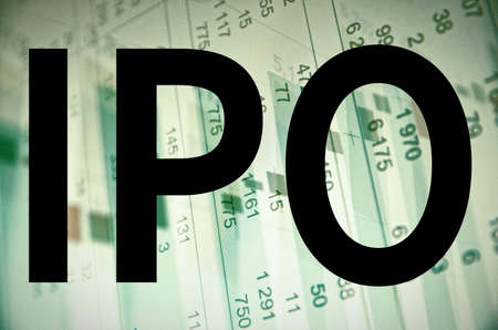 initial public offerings: Initial public offering IPO. Business abstract Stock Photo