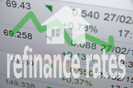 refinance: House icon  inscription refinance rates