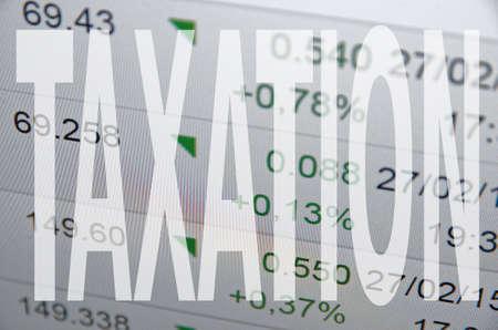taxation: Inscription Taxation on PC screen.