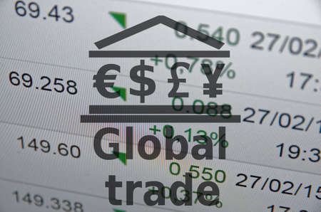 global trade: Building icon with major world currencies symbols. Inscription Global trade.