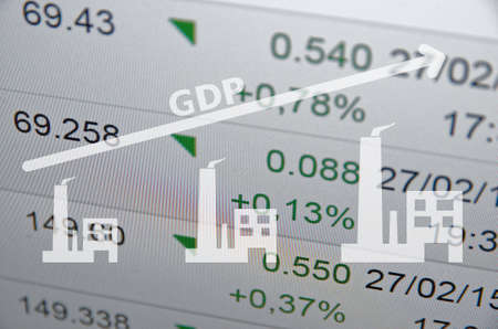 electricity export: Growing economy concept. Inscription GDP, growing arrow and factory icon. Stock Photo