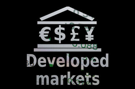 developed: Building icon with major world currencies symbols. Inscription Developed markets.