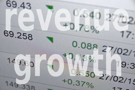 stockmarket chart: Inscription Revenue growth on PC screen. Stock Photo