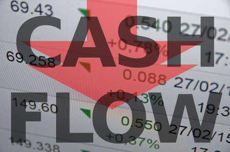 cash flow statement: Inscription Cash flow on PC screen.