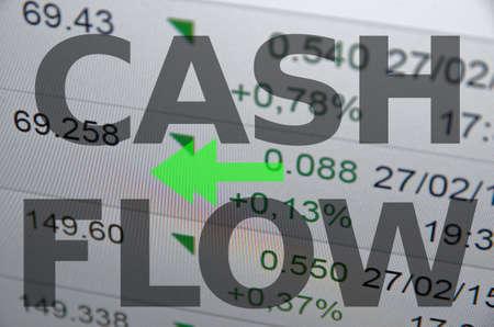 rate of return: Inscription Cash flow on PC screen.