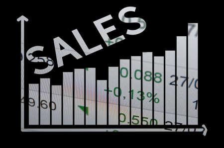 p2p: Diagram on pc screen  inscription sales. Stock Photo