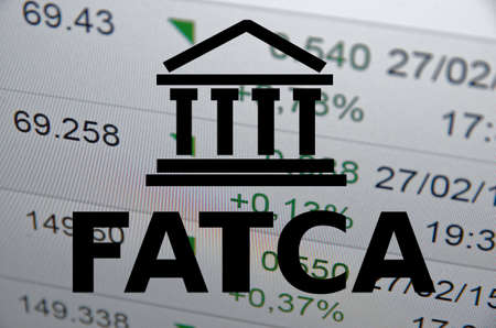numbers abstract: FATCA Foreign Account Tax Compliance Act. Concept with building icon. Stock Photo