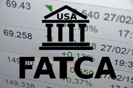 FATCA Foreign Account Tax Compliance Act. Concept with building icon. Фото со стока