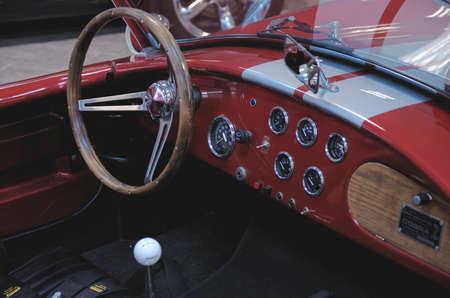 ac: SOCHI, RUSSIA - JUNE 12, 2015: passenger compartment of AC Cobra car in the Sochi Auto Museum, on June 12 2015.