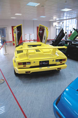 supercar: SOCHI, RUSSIA - JUNE 12, 2015: A mid-engined supercar Lamborghini Countach LP 25th Anniversary. Front view. Sochi Auto Museum, on June 12 2015.
