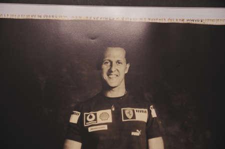 SOCHI, RUSSIA - JUNE 12, 2015: Photo of Michael Schumacher in the Sochi Auto Museum, on June 12 2015.