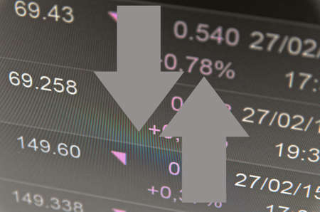Financial concept. Trading software window on PC screen, close-up.