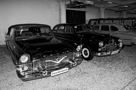 12 13: SOCHI, RUSSIA - JUNE 11, 2015: GAZ-13 Chaika and GAZ-12 ZIM in the Sochi Auto Museum on June 11th 2015. Editorial