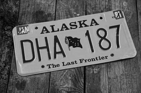 numberplate: SOCHI, RUSSIA - JUNE 11, 2015: Alaska registration number in the Sochi Auto Museum on June 11th 2015.