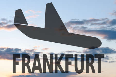 frankfurt: Landing airplane icon  inscription Frankfurt Stock Photo