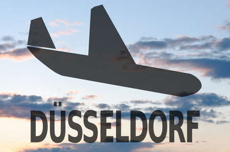 symbol tourism: Landing airplane icon  inscription Dusseldorf Stock Photo