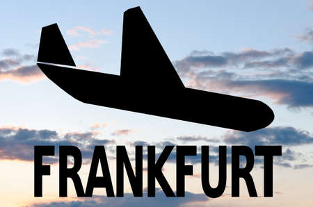 frankfurt: Landing airplane icon  inscription Frankfurt Stock Photo