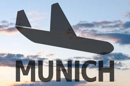munich: Landing airplane icon  inscription Munich