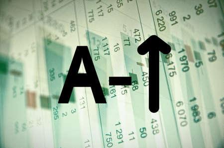 multiple exposure: Inscription A and arrow on a PC screen.