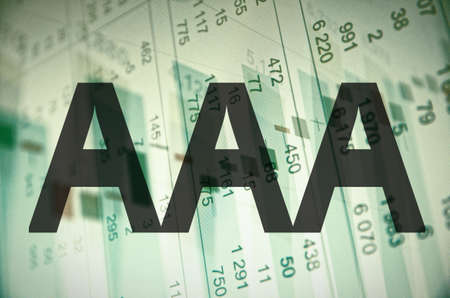 aaa: Inscription AAA on a PC screen. Highest credit rating. Stock Photo