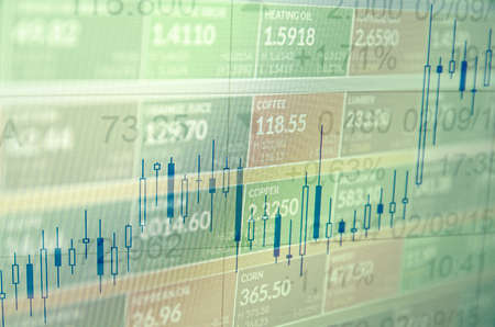 stock ticker board: Close-up computer screen with trading platform window. Multiple exposure photo.