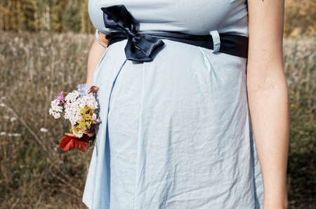 bow belly: Young pregnant woman in field with a bunch of wild flowers Stock Photo