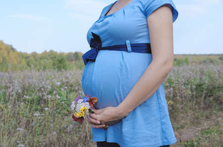 bow belly: Young pregnant woman in field with a bunch of wild flowers under belly. Stock Photo