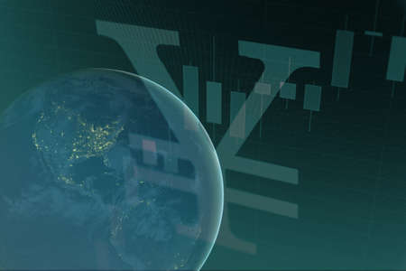 money cosmos: Earth with Japanese yen sign. Stock Photo