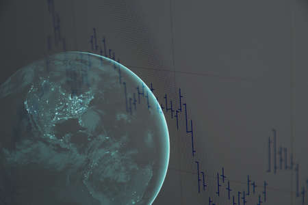 stock chart: Earth and stock chart.